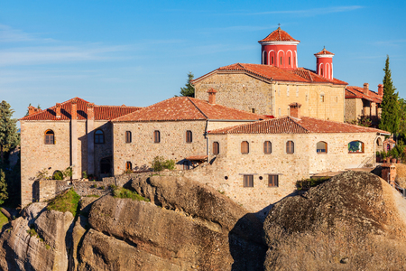 stephen: The Monastery of St. Stephen at the Meteora. Meteora is one of the largest and most precipitously built complexes of Eastern Orthodox monasteries in Greece. Stock Photo
