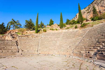 delfi: The ancient theatre at Delphi. Delphi was an important ancient Greek religious sanctuary sacred to the god Apollo.