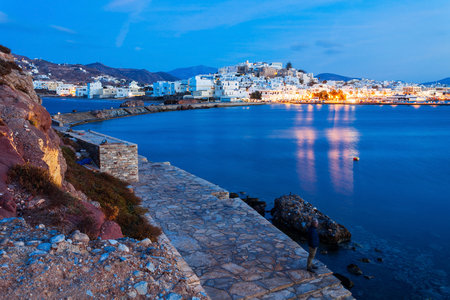 Naxos island aerial panoramic view at night. Naxos is the largest of the Cyclades island group in the Aegean, Greece
