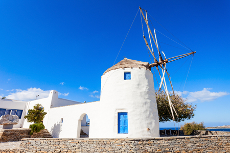 water mill: Traditional cycladic windmill in Parikia town, on the island of Paros in Greece Editorial
