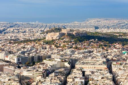 Athenian Acropolis aerial panoramic view in Athens, Greece Stok Fotoğraf