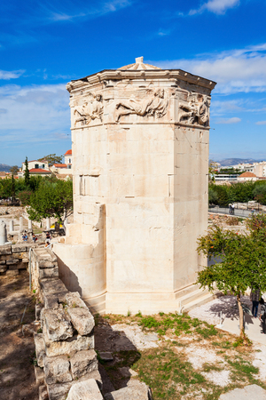 octogonal: The Tower of the Winds or the Horologion of Andronikos Kyrrhestes is an octagonal Pentelic marble clocktower in the Roman Agora in Athens, Greece.