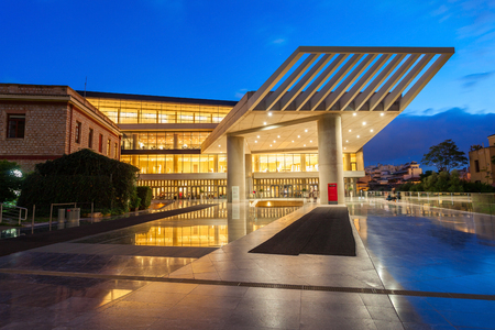 The Acropolis Museum at night. It is an archaeological museum focused on the findings of the archaeological site of the Acropolis of Athens in Greece.