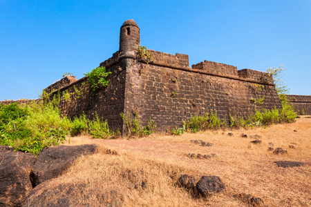 aguada: Chapora Fort is located in north Goa, rises high above the Chapora River, India