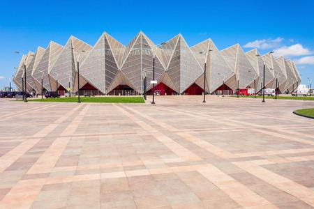 BAKU, AZERBAIJAN - SEPTEMBER 13, 2016: Baku Crystal Hall is an indoor arena in Baku, Azerbaijan. Built on the coast of Baku to host the 2012 Eurovision Song Contest.