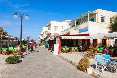 NAXOS ISLAND, GREECE - OCTOBER 23, 2016: Restaurant in Naxos Chora town, Naxos island in Greece