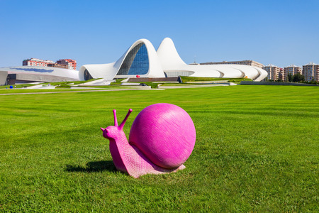 BAKU, AZERBAIJAN - SEPTEMBER 14, 2016:  The Heydar Aliyev Center is a building complex in Baku, Azerbaijan designed by Zaha Hadid and noted for its distinctive architecture and flowing, curved style.