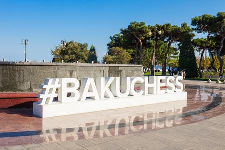 BAKU, AZERBAIJAN - SEPTEMBER 13, 2016: Baku chess hashtag monument at the Baku boulevard at the Caspian Sea embankment. Baku is the capital and largest city of Azerbaijan. Editöryel