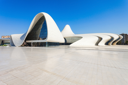 azeri: BAKU, AZERBAIJAN - SEPTEMBER 14, 2016:  The Heydar Aliyev Center is a building complex in Baku, Azerbaijan designed by Zaha Hadid and noted for its distinctive architecture and flowing, curved style.