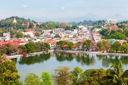 Kandy Lake and Kandy city aerial panoramic view from Arthurs Seat Kandy City Viewpoint, Sri Lanka Фото со стока
