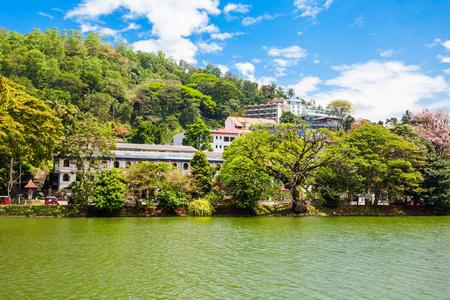 Kandy Lake at daytime. Lake is located in Kandy city, Sri Lanka.