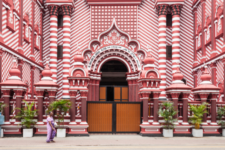 Jami-Ul-Alfar Mosque or Red Masjid Mosque is a historic mosque in Colombo, capital of Sri Lanka Editorial