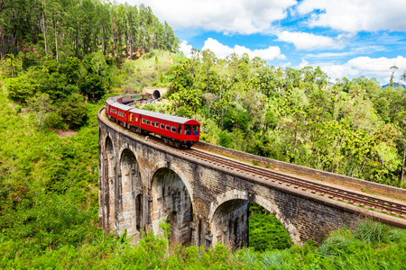 Train on the Nine Arches Demodara Bridge or the Bridge in the sky. Nine Arches Bridge is located in Demodara near Ella city, Sri Lanka.