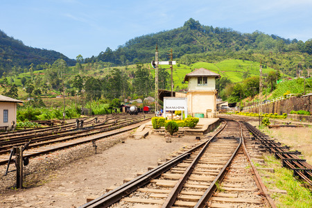 The Nanu Oya railway station near Nuwara Eliya, Sri Lanka. It is the main railway station in Nuwara Eliya region.