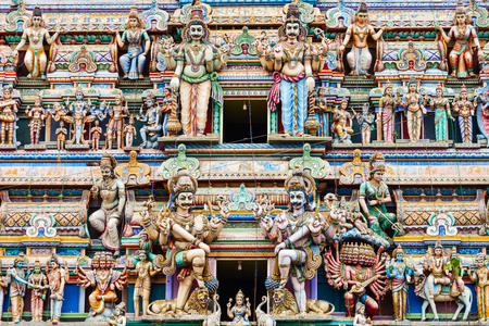 Sri Kaileswaram Temple relief decor. Sri Kailawasanathan Swami Devasthanam Kovil is a main hindu temple in Colombo, Sri Lanka Stock Photo