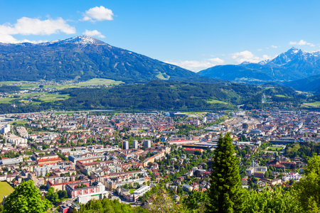 Innsbruck aerial panoramic view. Innsbruck is the capital city of Tyrol in western Austria. Stock Photo