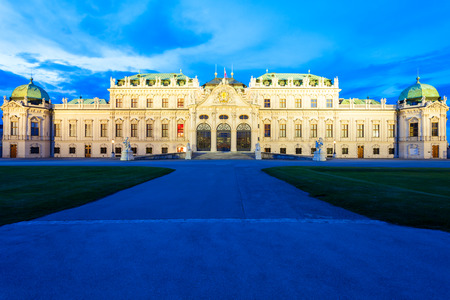 The Belvedere Palace is a historic building complex in Vienna, Austria at sunset. Belvedere was built as a summer residence for Prince Eugene of Savoy. Editorial