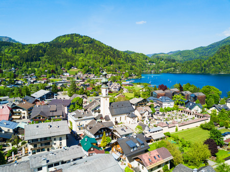 wolfgang: St. Gilgen and Wolfgangsee lake aerial panoramic view in Salzkammergut region in Austria