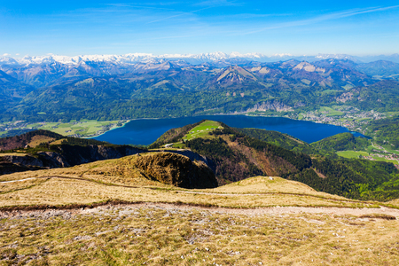 Wolfgangsee lake aerial panoramic view from Schafberg viewpoint, Upper Austria. Wolfgangsee lake located in the Salzkammergut region of Austria. Stock Photo