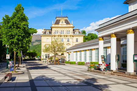 BAD ISCHL, AUSTRIA - MAY 16, 2017: Post and Telegraph Building in the centre of Bad Ischl, Upper Austria. Bad Ischl is a spa town in  Salzkammergut region of Austria.