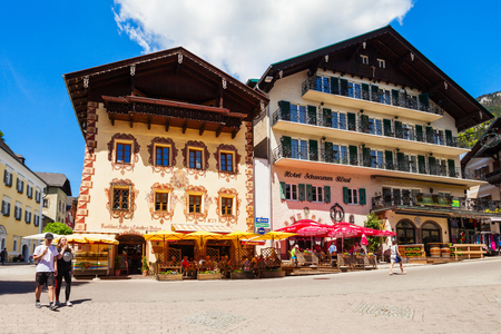 ST WOLFGANG, AUSTRIA - MAY 17, 2017: Beauty houses and restaurants in the centre of St. Wolfgang im Salzkammergut, Austria Editorial
