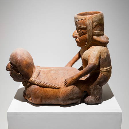 LIMA, PERU - MAY 28, 2015: Erotic pottery in the Larco Museum, located in Lima, Peru