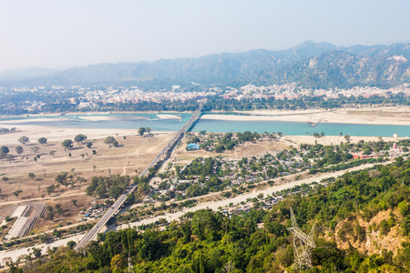 Haridwar aerial panoramic view in the Uttarakhand state of India.