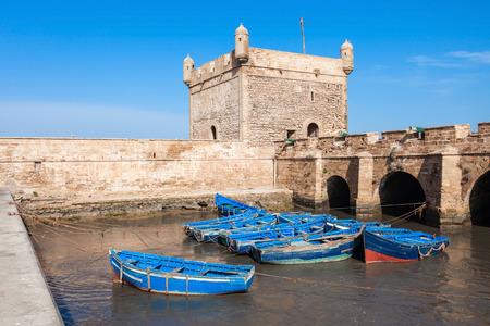 Boats docked in the Skala du Port in Essaouira, Morocco.