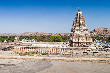 Virupaksha hindu temple and ruins, Hampi, India Stock Photo