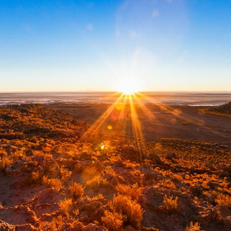 Sunrise near Salar de Uyuni in Altiplano, Bolivia