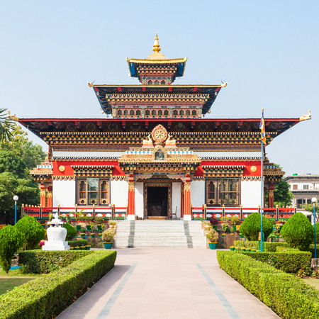 Royal Bhutan Monastery (Bhutanese Temple) near Mahabodhi Temple in Bodh Gaia, Bihar state of India