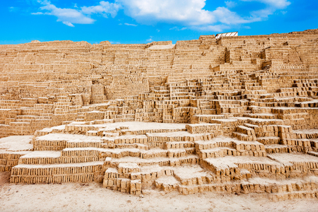The Huaca Pucllana in the Miraflores district of Lima, Peru