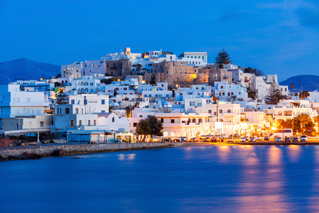 europeans: Naxos island aerial panoramic view at night. Naxos is the largest of the Cyclades island group in the Aegean, Greece