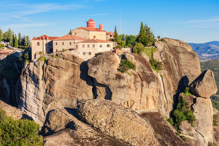 The Monastery of St. Stephen at the Meteora. Meteora is one of the largest and most precipitously built complexes of Eastern Orthodox monasteries in Greece. Stock Photo