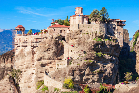 The Monastery of Varlaam is the second largest monastery in the Meteora. Meteora is one of the largest and most precipitously built complexes of Eastern Orthodox monasteries in Greece. Stock Photo
