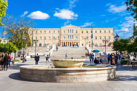 The Hellenic Parliament building on Syntagma Square in Athens, Greece