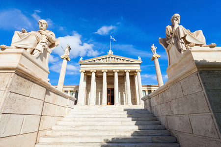 The main building of the Academy of Athens, one of Theophil Hansens Trilogy in central Athens, Greece