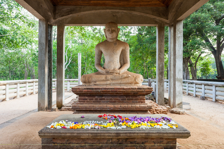 The Samadhi Buddha Statue at Mahamevnawa Park in Anuradhapura, Sri Lanka. Anuradhapura is one of the ancient capitals of Sri Lanka.
