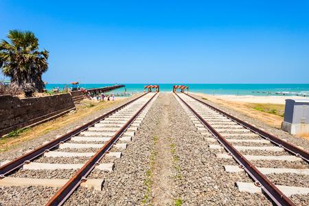 The end of Talaimannar railway track, Sri Lanka. Talaimannar is located on the Mannar Island and about 18 miles from Dhanushkodi indian town. Stock Photo