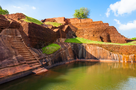 ancient lion: Pool in the royal garden palace complex on the top of Sigiriya Rock or Lion Rock near Dambulla in Sri Lanka