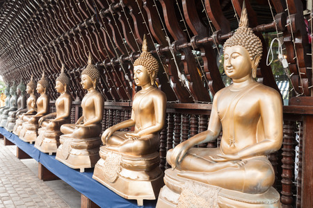 Buddha statues at the Seema Malaka buddhist temple on Beira Lake,  Colombo, Sri Lanka. Seema Malaka is a part of Gangaramaya Temple.