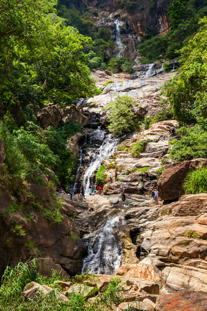 The Ravana Falls or Ravana Ella waterfalls is a popular sightseeing attraction near Ella, Sri Lanka. Ravana Falls ranks as one of the  widest falls in Sri Lanka.