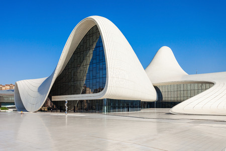 azeri: BAKU, AZERBAIJAN - SEPTEMBER 14, 2016: The Heydar Aliyev Center is a building complex in Baku, Azerbaijan designed by Zaha Hadid. Editorial