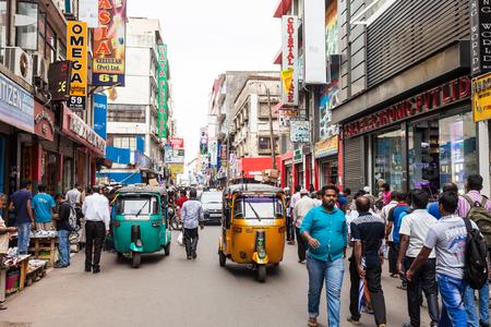 COLOMBO, SRI LANKA - FEBRUARY 28, 2017: Street near the Pettah Market or Manning Market. Pettah Market located in the suburb of Pettah in Colombo, Sri Lanka. Editöryel
