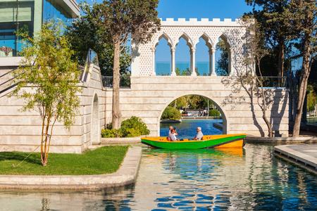 BAKU, AZERBAIJAN - SEPTEMBER 13, 2016: The Little Venice water park is located on the Baku Boulevard in the center of Baku city in Azerbaijan. Editöryel