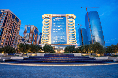 BAKU, AZERBAIJAN - SEPTEMBER 15, 2016: JW Marriott Absheron Baku  is a luxury 5 star hotel in the center of Baku, Azerbaijan.