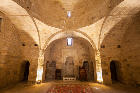 BAKU, AZERBAIJAN - SEPTEMBER 15, 2016: The Palace of the Shirvanshahs is a 15th-century palace built by the Shirvanshahs, located in the Old City of Baku, Azerbaijan.