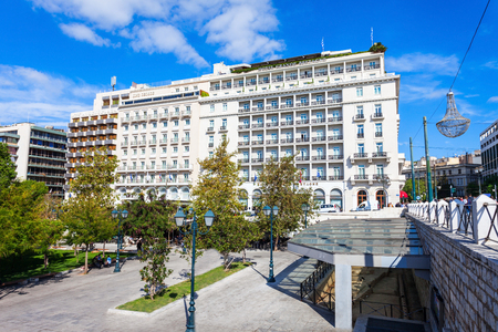 Constitución: ATHENS, GREECE - OCTOBER 19, 2016: Hotel Grande Bretagne, King George and Athens Plaza Hotel to the north side of the Syntagma Square, along King George I Street. Editorial