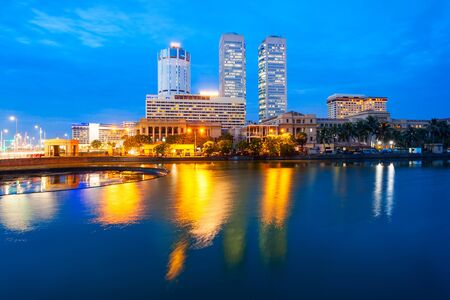 Colombo city skyline and Beira lake at sunset. Colombo is the commercial capital and largest city of Sri Lanka. 写真素材