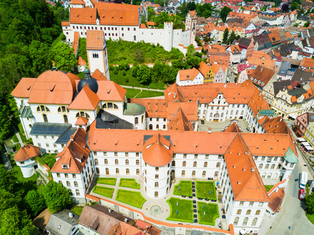 Fussen Abbey or St. Mang Abbey aerial panoramic view Stock Photo